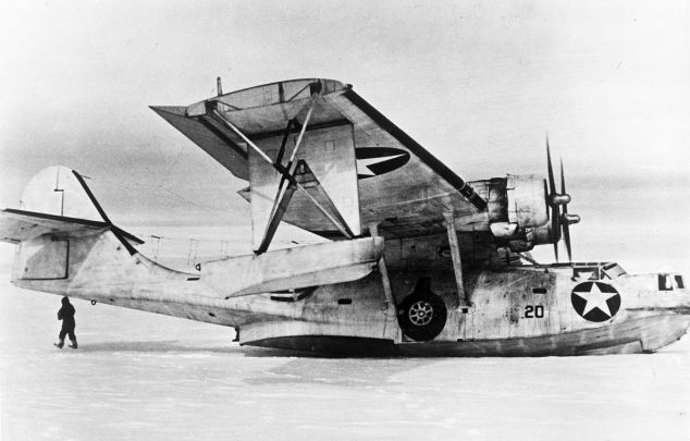 OA-10 Catalina on the ice in Greenland after a rescue.